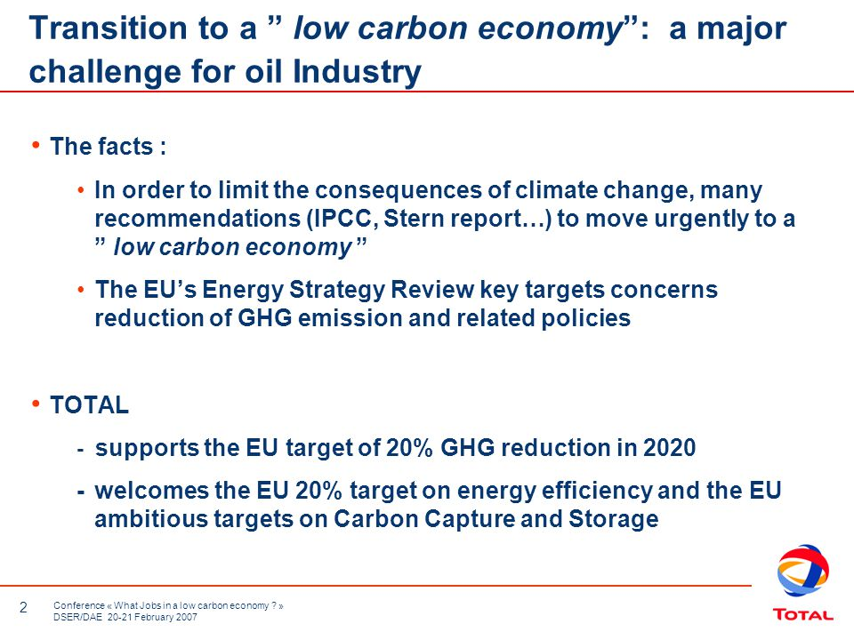 2 Conference « What Jobs in a low carbon economy .