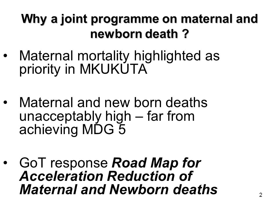 2 Why a joint programme on maternal and newborn death .