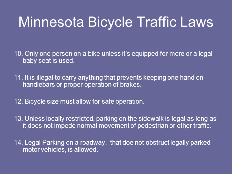 Minnesota Bicycle Traffic Laws 10.