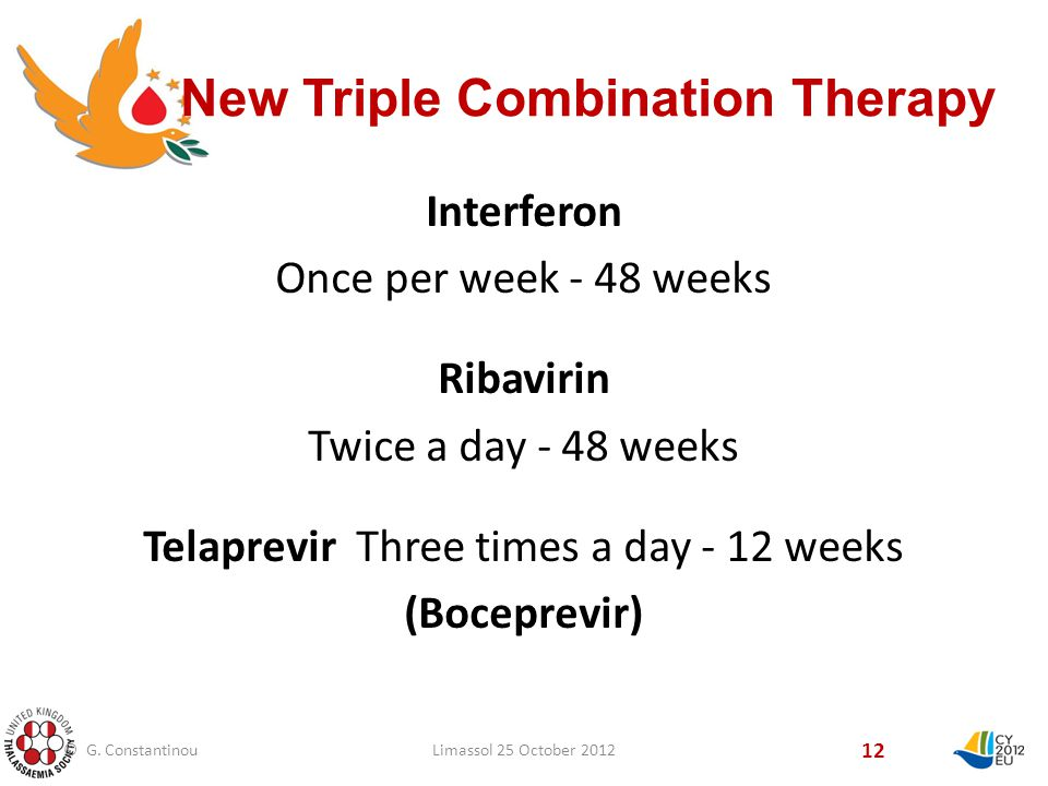 New Triple Combination Therapy 12 Interferon Once per week - 48 weeks Ribavirin Twice a day - 48 weeks Telaprevir Three times a day - 12 weeks (Boceprevir) © G.