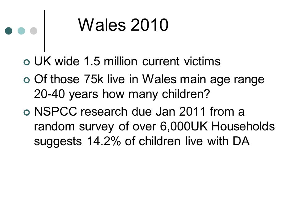 Wales 2010 UK wide 1.5 million current victims Of those 75k live in Wales main age range years how many children.