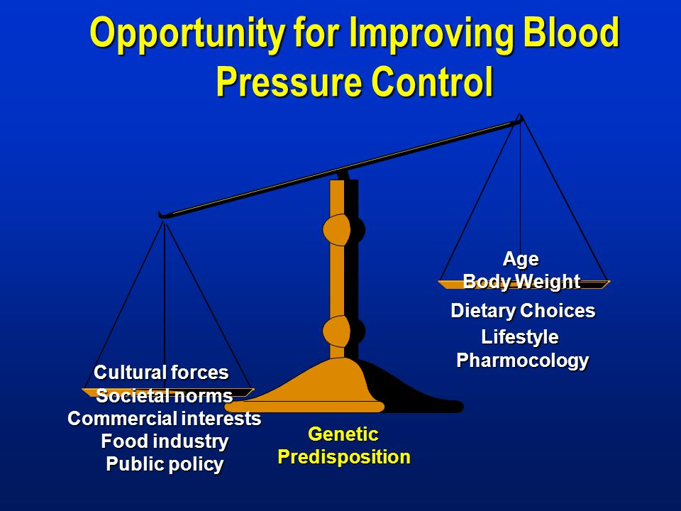 Cultural forces Age Body Weight Societal norms Commercial interests Food industry Public policy Genetic Predisposition Dietary Choices LifestylePharmocology Opportunity for Improving Blood Pressure Control
