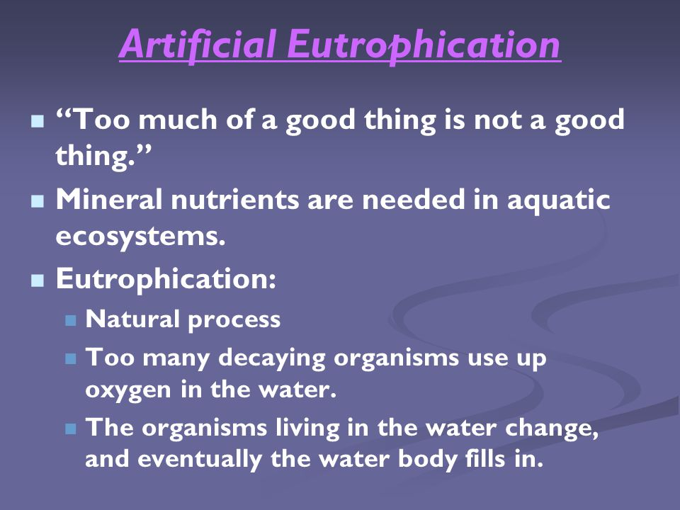 Artificial Eutrophication Too much of a good thing is not a good thing. Mineral nutrients are needed in aquatic ecosystems.