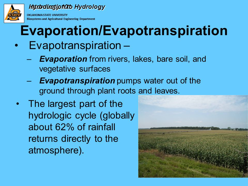 OKLAHOMA STATE UNIVERSITY Biosystems and Agricultural Engineering Department Hydrology 101 Evapotranspiration – –Evaporation from rivers, lakes, bare soil, and vegetative surfaces –Evapotranspiration pumps water out of the ground through plant roots and leaves.