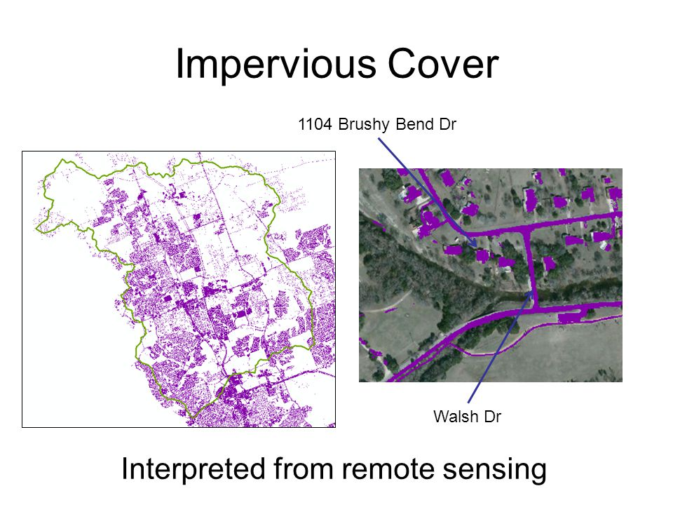 Impervious Cover Walsh Dr 1104 Brushy Bend Dr Interpreted from remote sensing