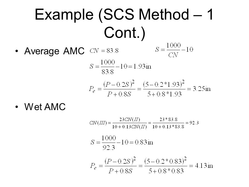 Example (SCS Method – 1 Cont.) Average AMC Wet AMC