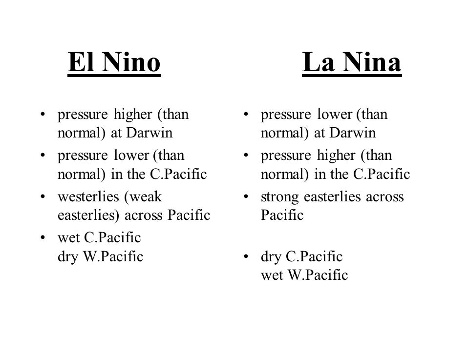 El NinoLa Nina pressure higher (than normal) at Darwin pressure lower (than normal) in the C.Pacific westerlies (weak easterlies) across Pacific wet C.Pacific dry W.Pacific pressure lower (than normal) at Darwin pressure higher (than normal) in the C.Pacific strong easterlies across Pacific dry C.Pacific wet W.Pacific