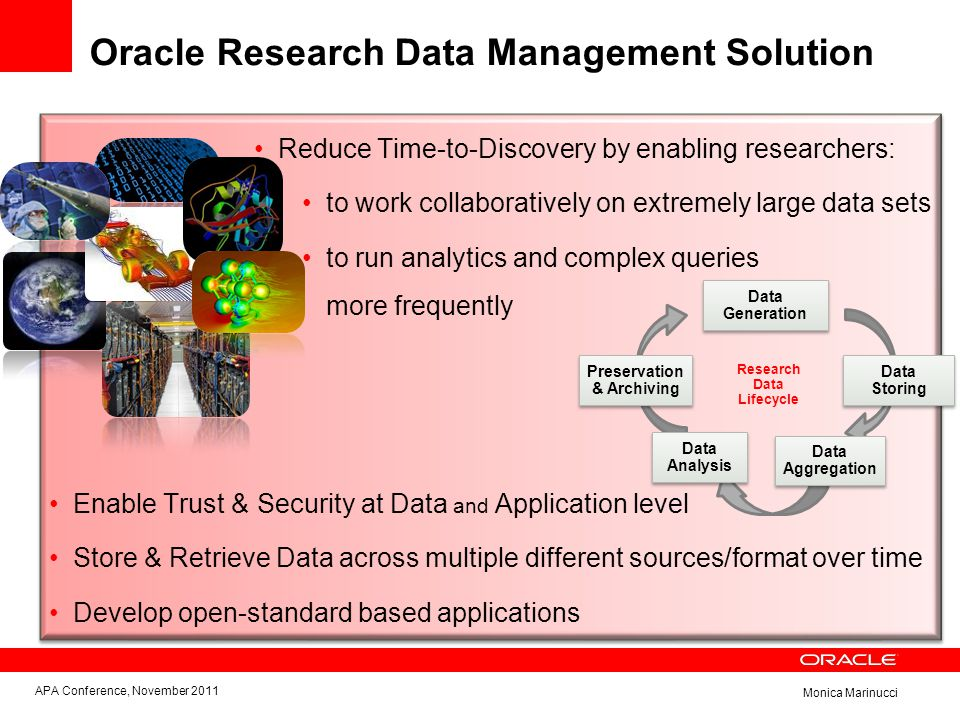 Monica Marinucci Oracle Research Data Management Solution Reduce Time-to-Discovery by enabling researchers: to work collaboratively on extremely large data sets to run analytics and complex queries more frequently Data Generation Data Analysis Data Storing Preservation & Archiving Data Aggregation Enable Trust & Security at Data and Application level Store & Retrieve Data across multiple different sources/format over time Develop open-standard based applications Research Data Lifecycle APA Conference, November 2011
