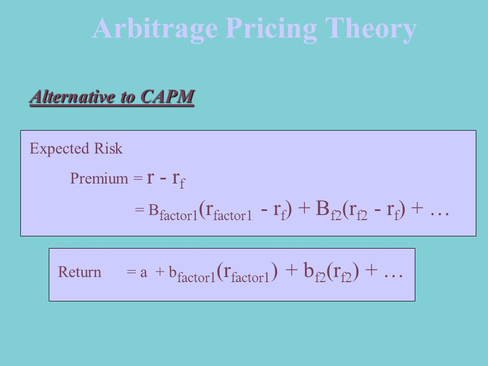 Arbitrage Pricing Theory Alternative to CAPM Expected Risk Premium = r - r f = B factor1 (r factor1 - r f ) + B f2 (r f2 - r f ) + … Return= a + b factor1 (r factor1 ) + b f2 (r f2 ) + …