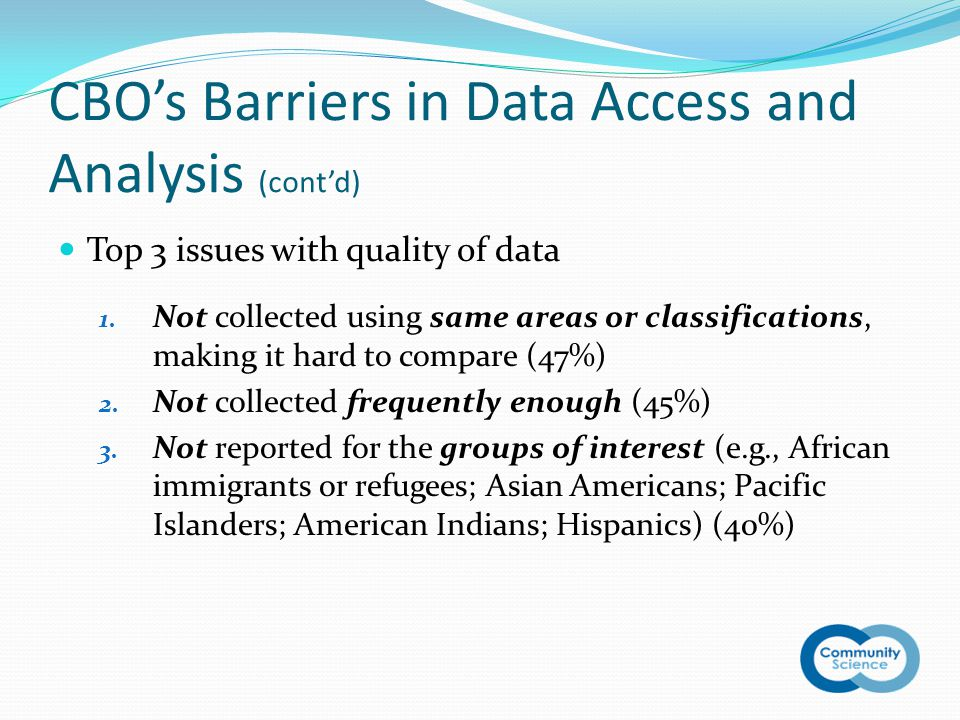 CBO's Barriers in Data Access and Analysis (cont'd) Top 3 issues with quality of data 1.