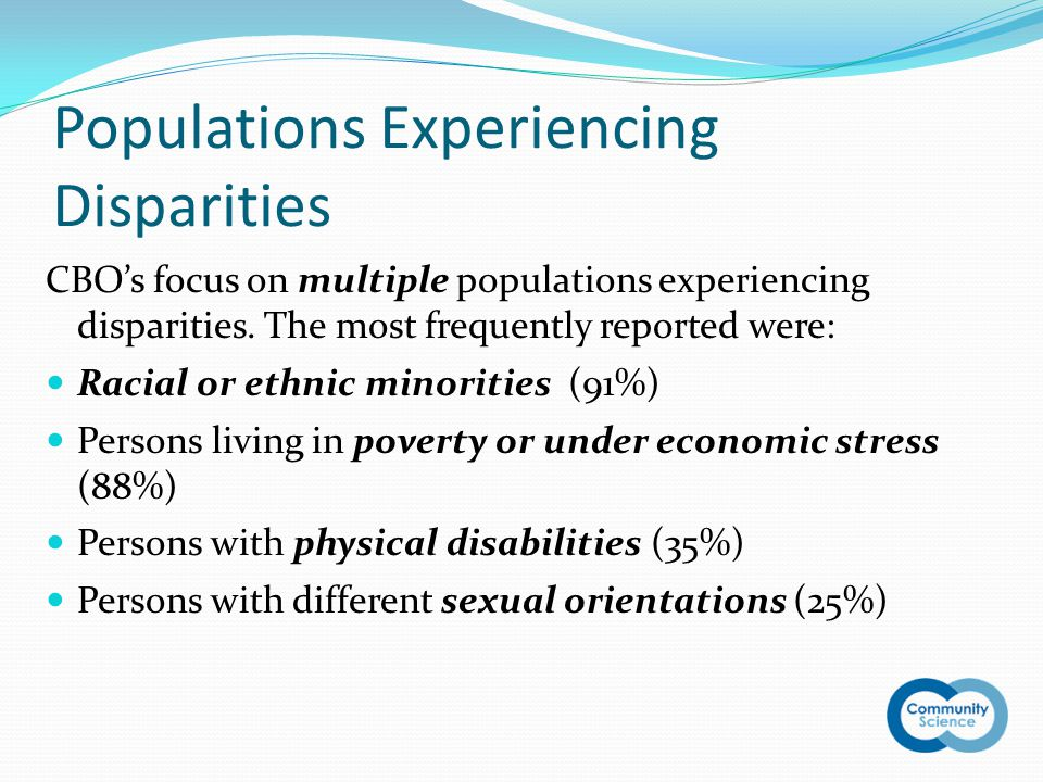 Populations Experiencing Disparities CBO's focus on multiple populations experiencing disparities.