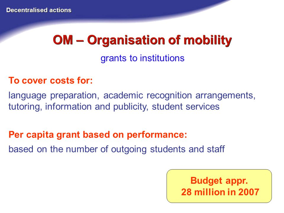 OM – Organisation of mobility Decentralised actions grants to institutions Budget appr.