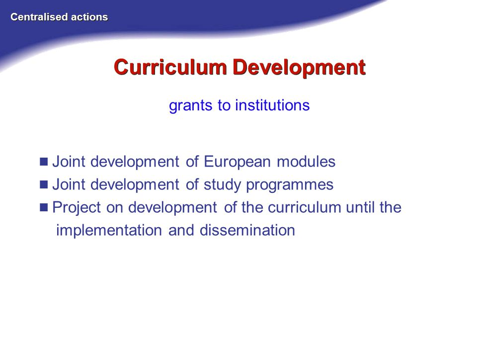 Curriculum Development Centralised actions grants to institutions Joint development of European modules Joint development of study programmes Project on development of the curriculum until the implementation and dissemination