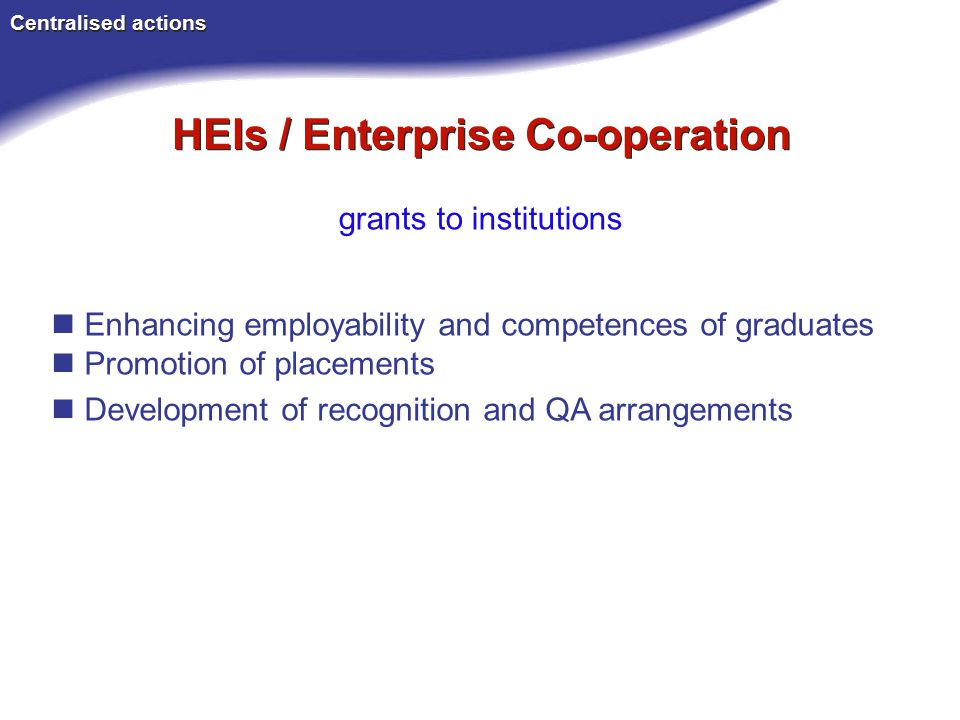 HEIs / Enterprise Co-operation Centralised actions Enhancing employability and competences of graduates Promotion of placements Development of recognition and QA arrangements grants to institutions