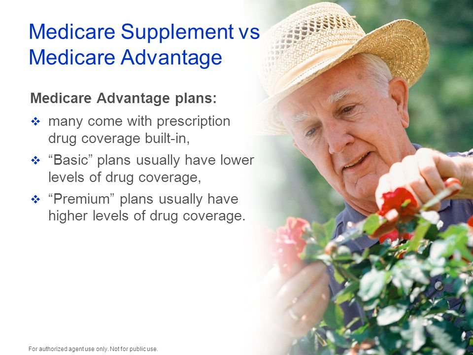 Medicare Supplement vs Medicare Advantage Medicare Advantage plans:  many come with prescription drug coverage built-in,  Basic plans usually have lower levels of drug coverage,  Premium plans usually have higher levels of drug coverage.