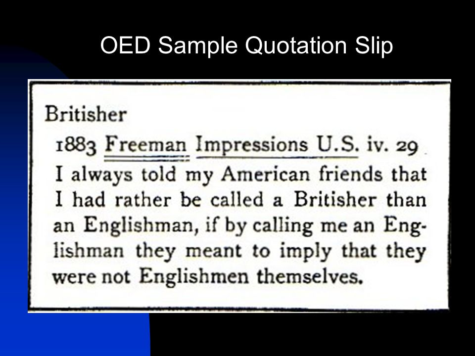 OED Sample Quotation Slip