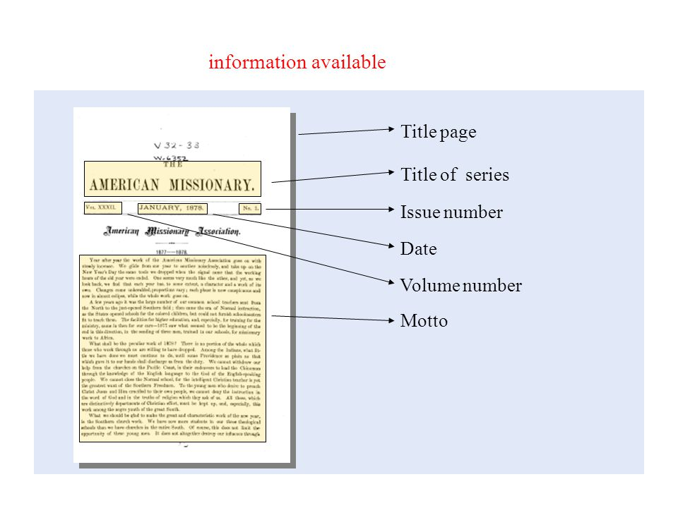 CCS – Offices information available Title page Title of series Volume number Issue number Motto Date