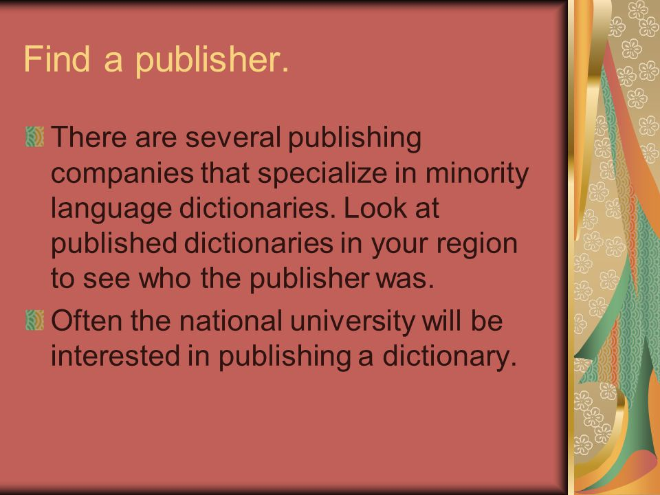 Find a publisher.
