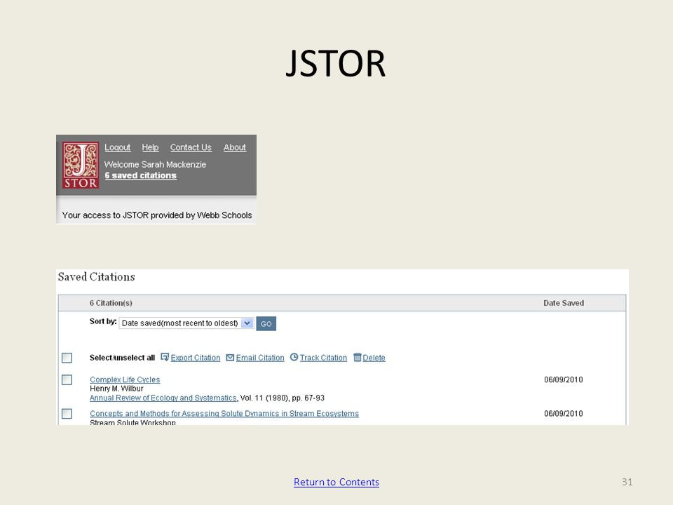 JSTOR Return to Contents31