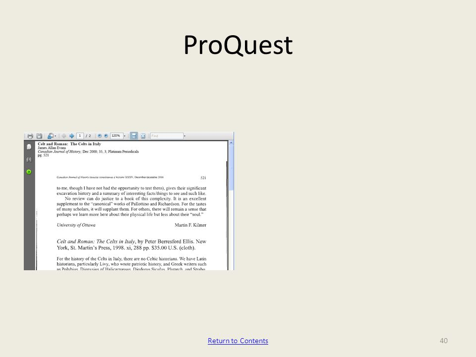 ProQuest 40Return to Contents