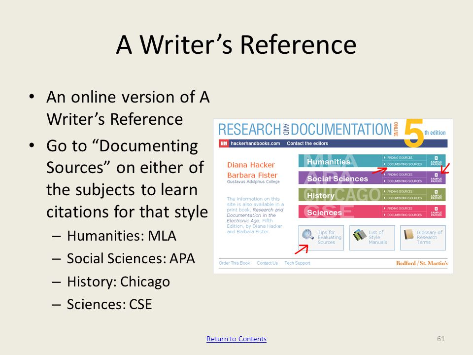 A Writer's Reference An online version of A Writer's Reference Go to Documenting Sources on either of the subjects to learn citations for that style – Humanities: MLA – Social Sciences: APA – History: Chicago – Sciences: CSE 61Return to Contents
