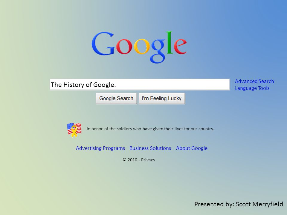 The History of Google.
