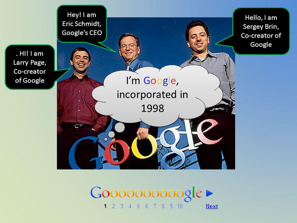 HI. I am Larry Page, Co-creator of Google Hey.