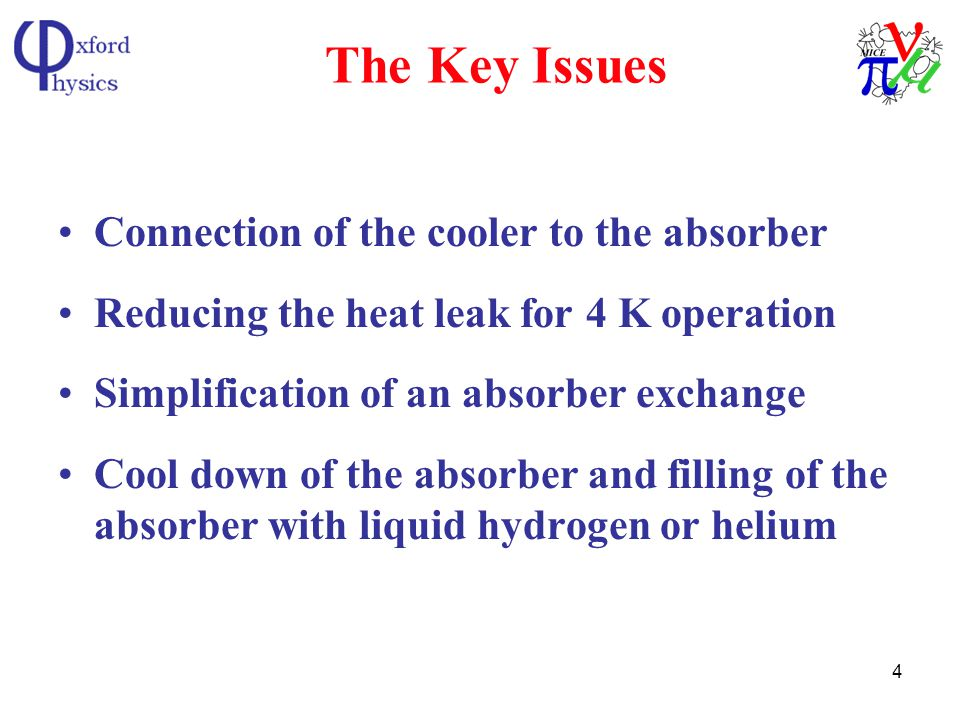 4 The Key Issues Connection of the cooler to the absorber Reducing the heat leak for 4 K operation Simplification of an absorber exchange Cool down of the absorber and filling of the absorber with liquid hydrogen or helium