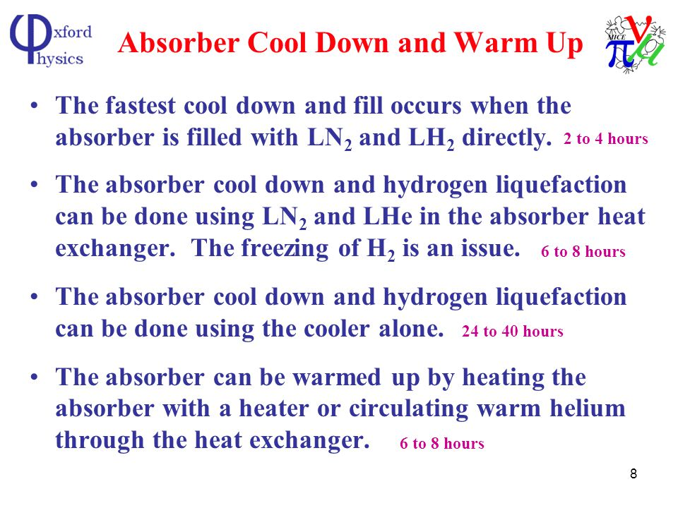 8 Absorber Cool Down and Warm Up The fastest cool down and fill occurs when the absorber is filled with LN 2 and LH 2 directly.