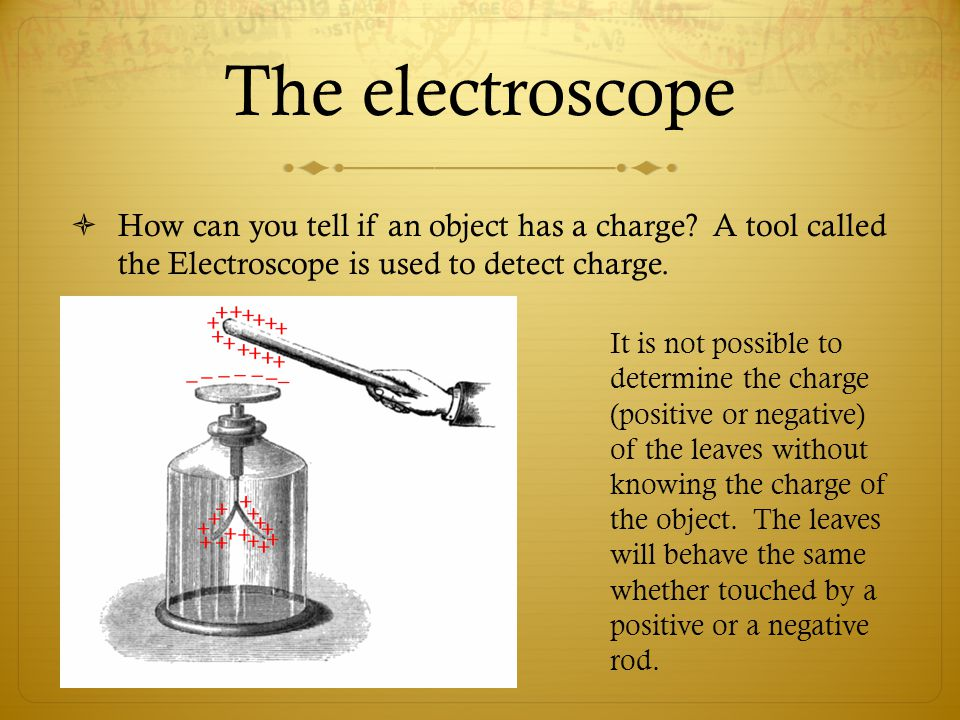 The electroscope  How can you tell if an object has a charge.