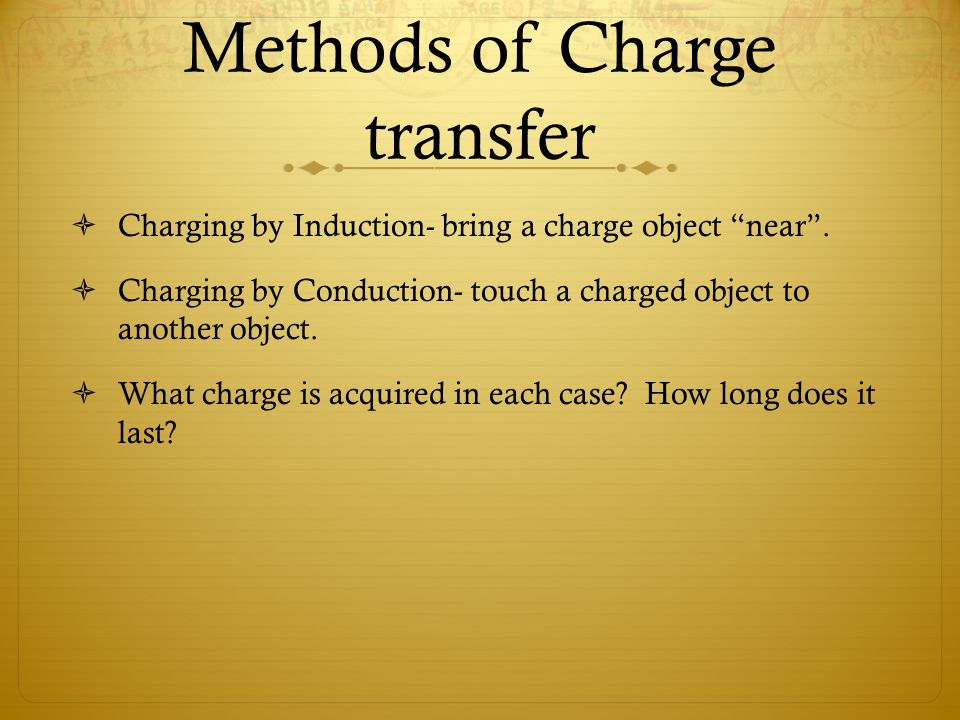 Methods of Charge transfer  Charging by Induction- bring a charge object near .