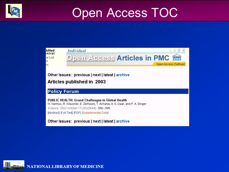 NATIONAL LIBRARY OF MEDICINE Open Access TOC