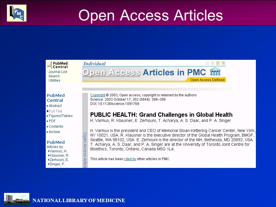NATIONAL LIBRARY OF MEDICINE Open Access Articles