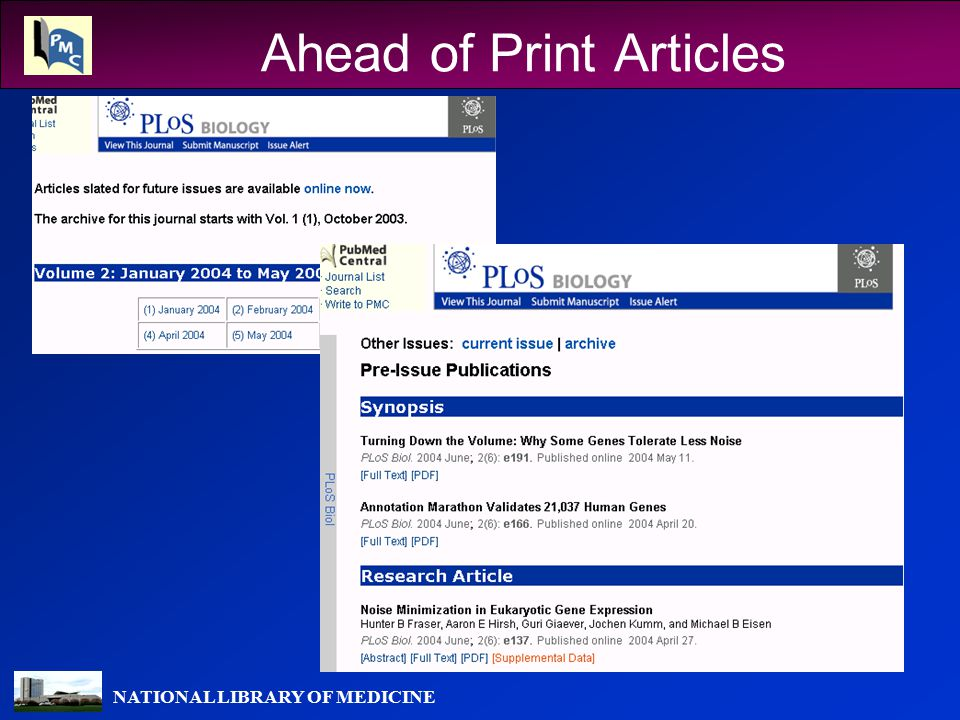 NATIONAL LIBRARY OF MEDICINE Ahead of Print Articles