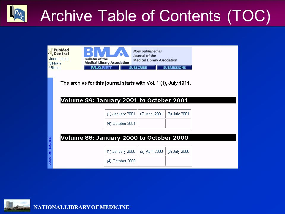 NATIONAL LIBRARY OF MEDICINE Archive Table of Contents (TOC)