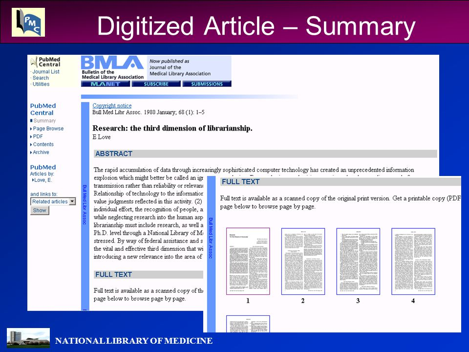 NATIONAL LIBRARY OF MEDICINE Digitized Article – Summary