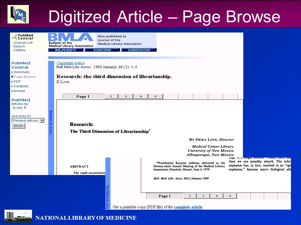 NATIONAL LIBRARY OF MEDICINE Digitized Article – Page Browse