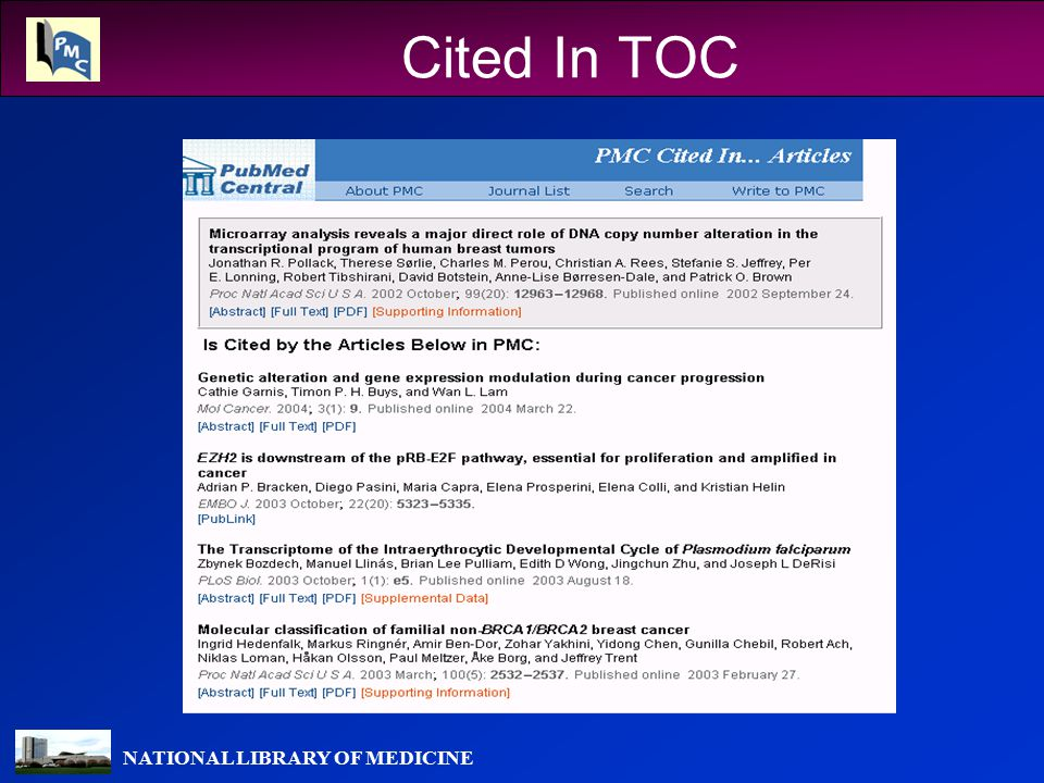 NATIONAL LIBRARY OF MEDICINE Cited In TOC
