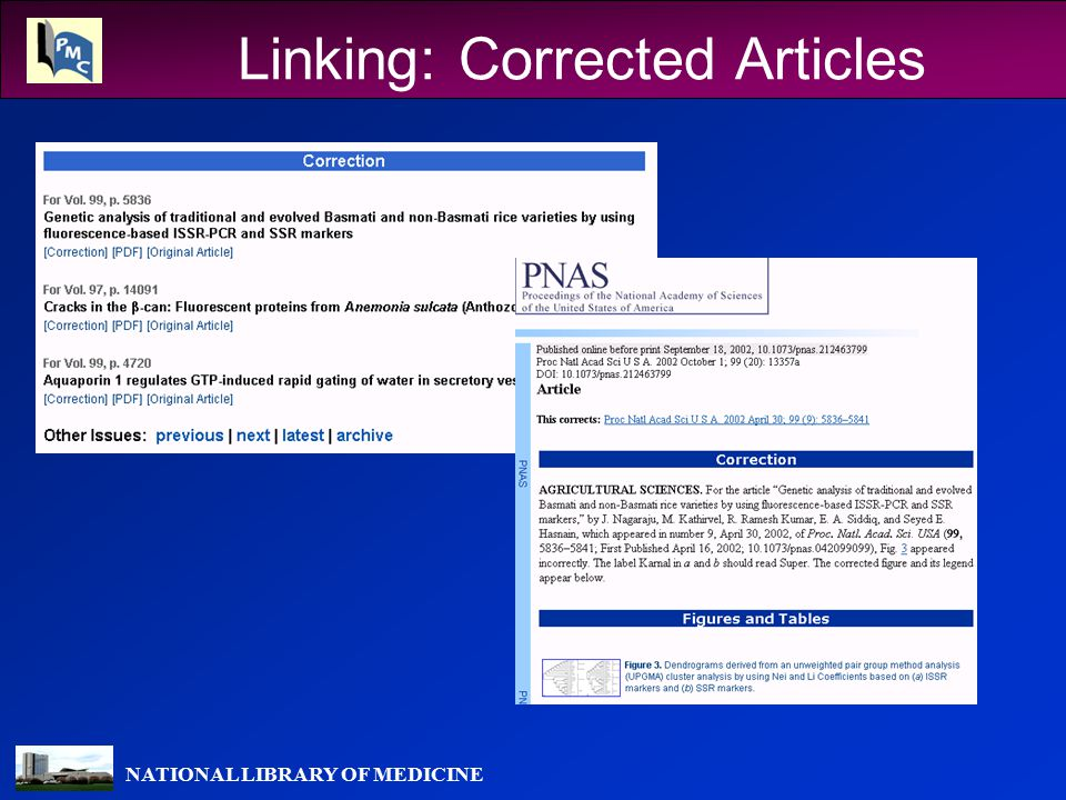 NATIONAL LIBRARY OF MEDICINE Linking: Corrected Articles