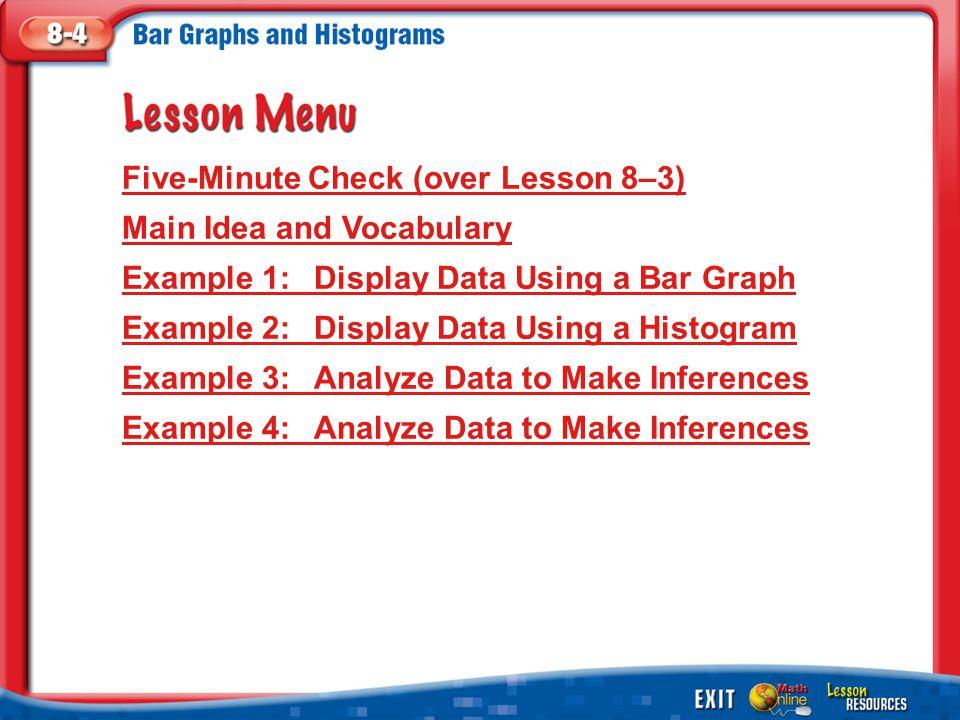 Splash Screen Lesson Menu Five-Minute Check (over Lesson 8–3) Main