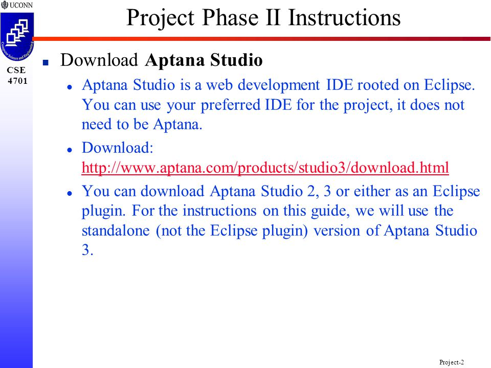 CSE 4701 Project-1 Project Phase II Instructions n Download XAMPP l