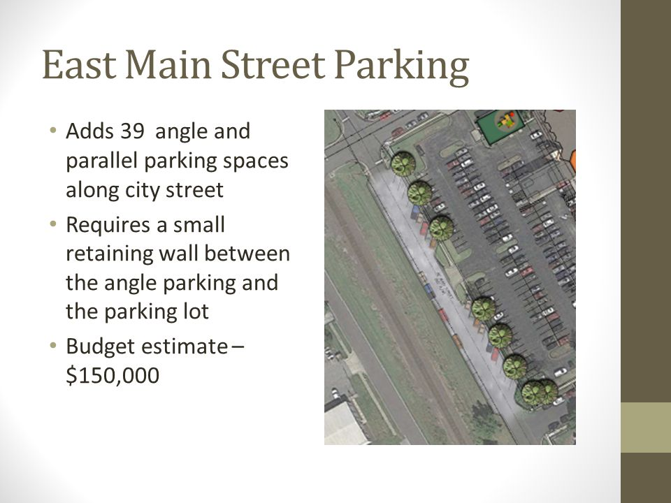 East Main Street Parking Adds 39 angle and parallel parking spaces along city street Requires a small retaining wall between the angle parking and the parking lot Budget estimate – $150,000