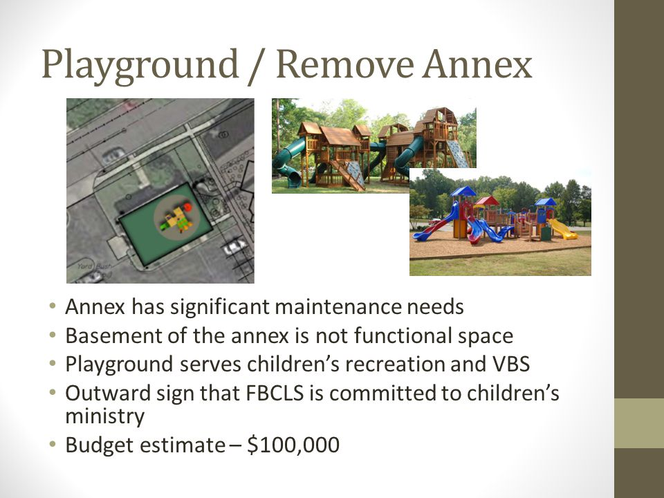 Playground / Remove Annex Annex has significant maintenance needs Basement of the annex is not functional space Playground serves children's recreation and VBS Outward sign that FBCLS is committed to children's ministry Budget estimate – $100,000