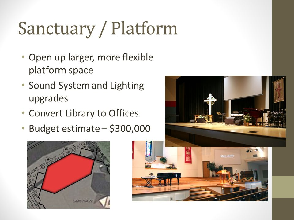 Sanctuary / Platform Open up larger, more flexible platform space Sound System and Lighting upgrades Convert Library to Offices Budget estimate – $300,000