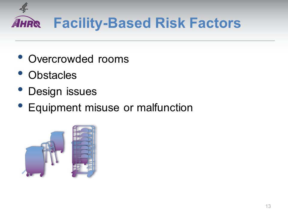 Facility-Based Risk Factors Overcrowded rooms Obstacles Design issues Equipment misuse or malfunction 13