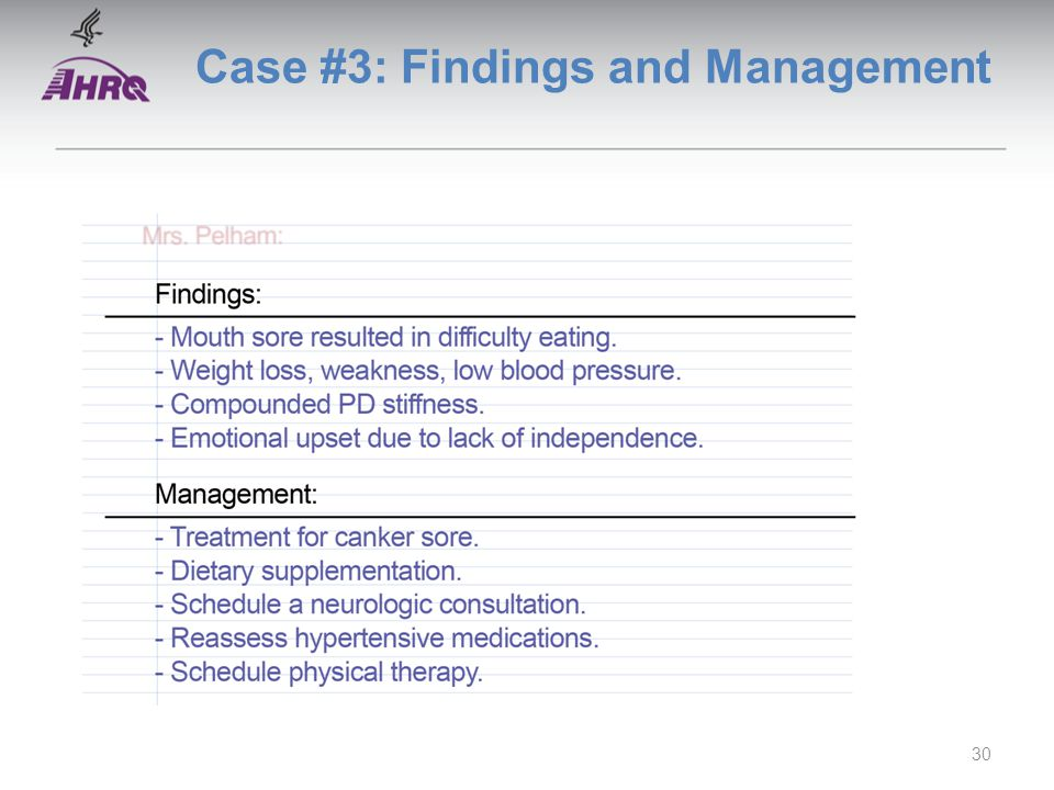 Case #3: Findings and Management 30