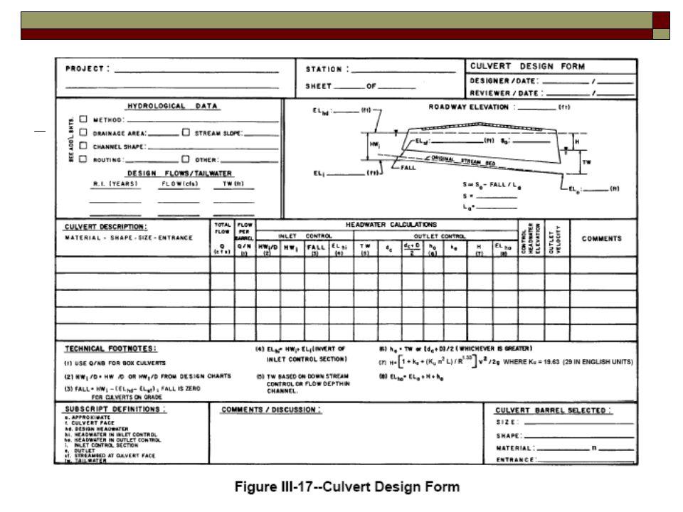Culvert Hydraulics using the Culvert Design Form - ppt video