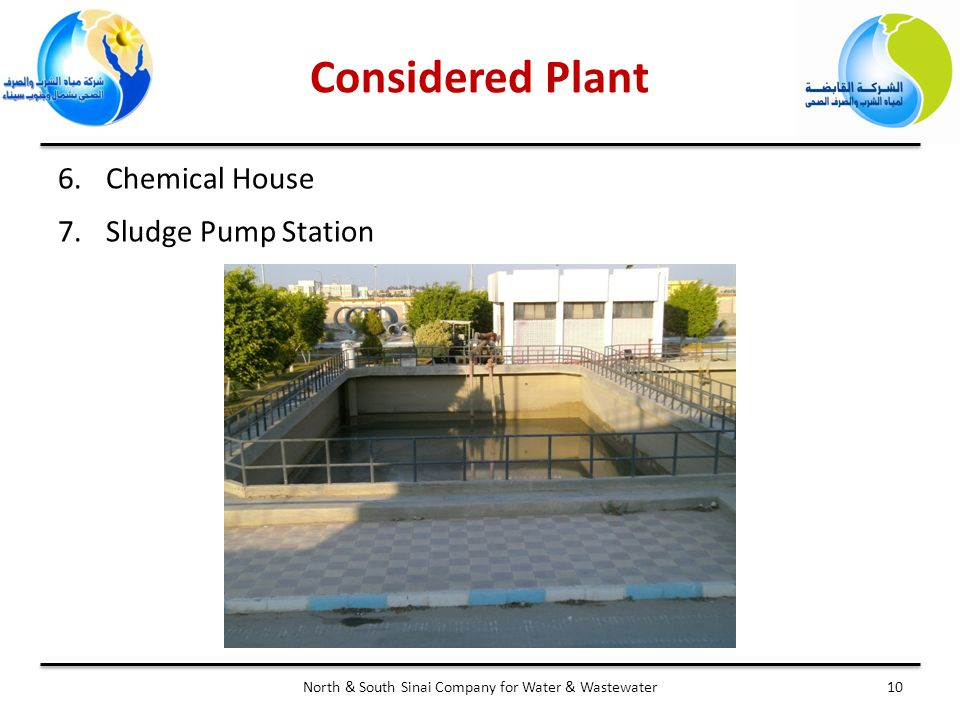 10North & South Sinai Company for Water & Wastewater 6.Chemical House 7.Sludge Pump Station Considered Plant