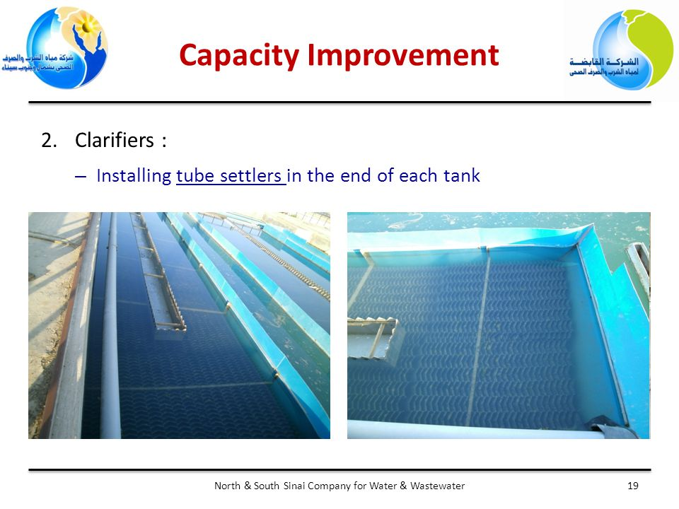 Capacity Improvement 19North & South Sinai Company for Water & Wastewater 2.Clarifiers : – Installing tube settlers in the end of each tank
