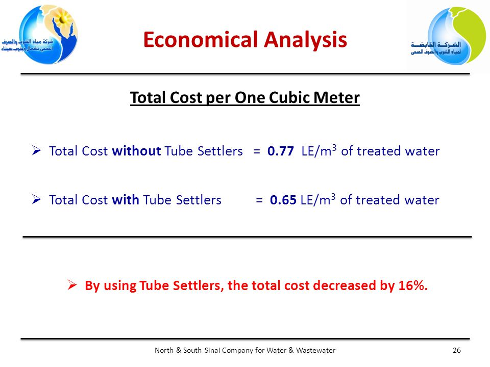 Economical Analysis 26North & South Sinai Company for Water & Wastewater Total Cost per One Cubic Meter  Total Cost without Tube Settlers = 0.77 LE/m 3 of treated water  Total Cost with Tube Settlers = 0.65 LE/m 3 of treated water  By using Tube Settlers, the total cost decreased by 16%.